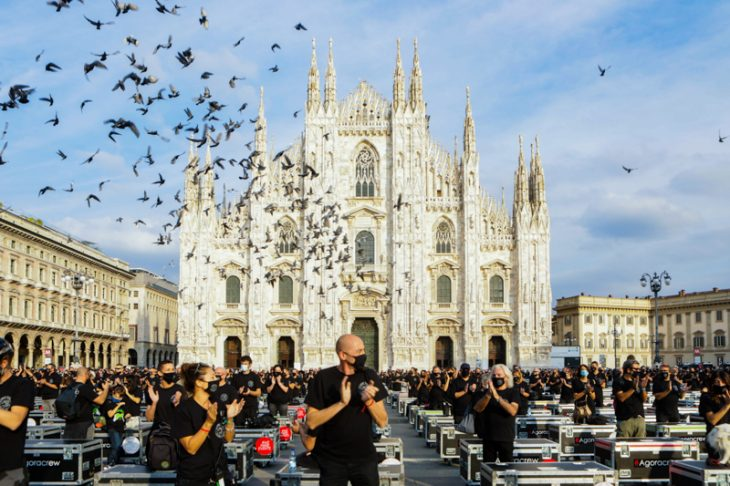 'Bauli in Piazza', protest by entertainment workers asking the Italian Government for new rules for the organization of events that make economic sustainability and a working table to discuss the future of the industry, Italy, on October 10 2020